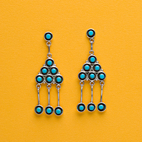 Sterling Silver Zuni Earrings - Dark Cat Mansion