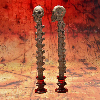 Bronze Skull Taper Candle Set - darkcatmansion