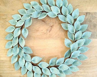Modern Farmhouse Front Door Wreath / Farmhouse Door Decor / Everyday Wreath / Farmhouse Style Leaf Wreath / 18