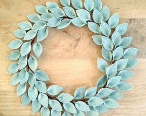 "Modern Farmhouse Front Door Wreath / Farmhouse Door Decor / Everyday Wreath / Farmhouse Style Leaf Wreath / 18"" Diameter / Made to Order"