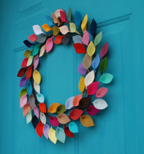 "Load image into Gallery viewer, Bright Felt Leaf Wreath - Colorful and Modern Everyday Wreath - 18"" Outside Diameter - Made to Order"