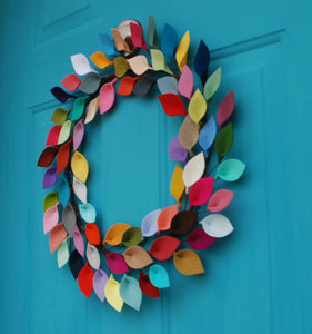 "Bright Felt Leaf Wreath - Colorful and Modern Everyday Wreath - 18"" Outside Diameter - Made to Order"