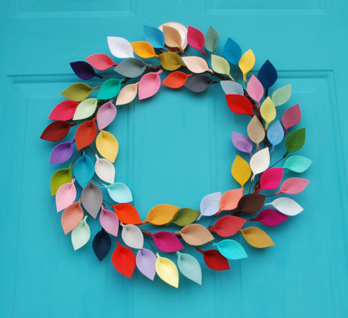 Bright Felt Leaf Wreath - Colorful and Modern Everyday Wreath - 18