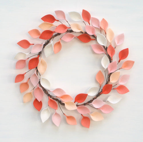 Felt Leaf Wreath in Coral, Peach, and Ivory - 100% Wool Felt Modern Wreath - 16