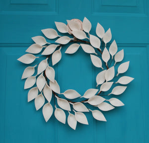 "Small Modern Farmhouse Wreath in Soft White - 12"" Outside Diameter -Felt Leaf Wreath - Neutral Wreath - Made to Order"