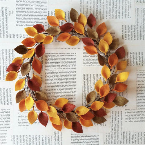 Autumn Felt Leaf Wreath - Simple Wreath for Fall - Thanksgiving Wreath - 16