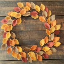 "Load image into Gallery viewer, Autumn Felt Leaf Wreath - Simple Wreath for Fall - Thanksgiving Wreath - 16"" Size - Made to Order"