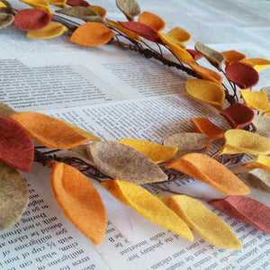 "Autumn Felt Leaf Wreath - Simple Wreath for Fall - Thanksgiving Wreath - 16"" Size - Made to Order"