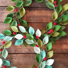 "Load image into Gallery viewer, Small Felt Christmas Wreath - Green Felt Leaves and Holly Berries - 12"" Total Diameter - Modern Christmas Wreath - Made to Order"