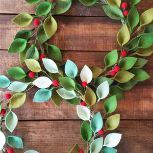 "Small Felt Christmas Wreath - Green Felt Leaves and Holly Berries - 12"" Total Diameter - Modern Christmas Wreath - Made to Order"