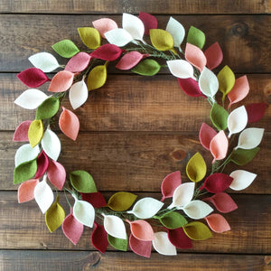 "Felt Leaf Wreath in Pinks and Greens - Modern Spring Wreath - 16"" Outside Diameter - Made to Order"