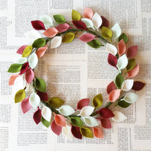 "Load image into Gallery viewer, Felt Leaf Wreath in Pinks and Greens - Modern Spring Wreath - 16"" Outside Diameter - Made to Order"