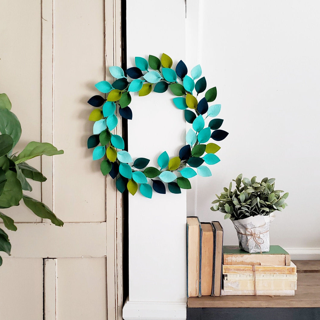 Small Blue and Green Wool Felt Leaf Wreath - Summer Wreath - Beach Wreath - Ocean Wreath - 12