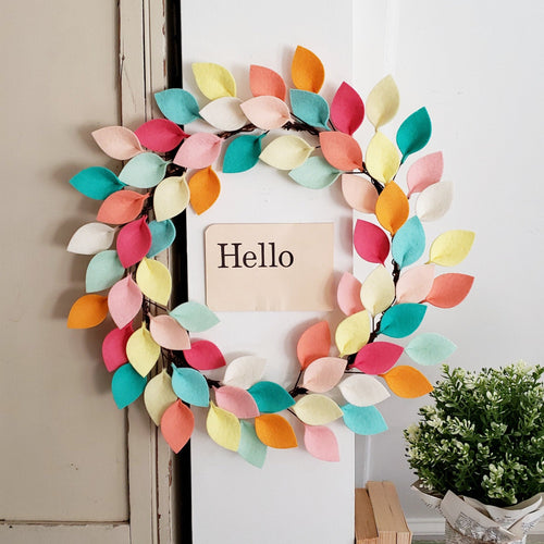 Small Wool Felt Leaf Wreath in Pink, Aqua and Yellow - Summer Wreath - Beach Wreath - Spring Wreath - 12