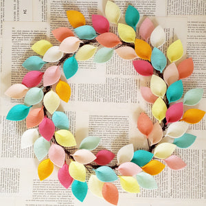 "Pink, Aqua and Yellow Wool Felt Leaf Wreath - Summer Wreath - Beach Wreath - 16"" Outside Diameter - Made to Order"