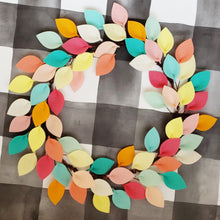 "Load image into Gallery viewer, Pink, Aqua and Yellow Wool Felt Leaf Wreath - Summer Wreath - Beach Wreath - 16"" Outside Diameter - Made to Order"