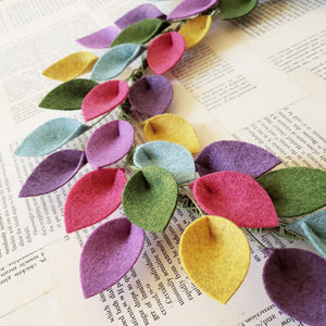 "Small Spring or Summer Wool Felt Leaf Wreath in Pink, Purple, Green and Blue - Summer Wreath - 12"" Outside Diameter - Made to Order"