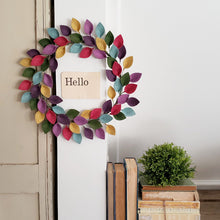 "Load image into Gallery viewer, Small Spring or Summer Wool Felt Leaf Wreath in Pink, Purple, Green and Blue - Summer Wreath - 12"" Outside Diameter - Made to Order"