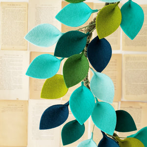 "Blue and Green Wool Felt Leaf Wreath - Summer Wreath - Beach Wreath - Ocean Wreath - 16"" Outside Diameter - Made to Order"