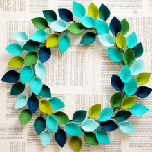 "Load image into Gallery viewer, Small Blue and Green Wool Felt Leaf Wreath - Summer Wreath - Beach Wreath - Ocean Wreath - 12"" Outside Diameter - Made to Order"