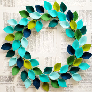 "Small Blue and Green Wool Felt Leaf Wreath - Summer Wreath - Beach Wreath - Ocean Wreath - 12"" Outside Diameter - Made to Order"