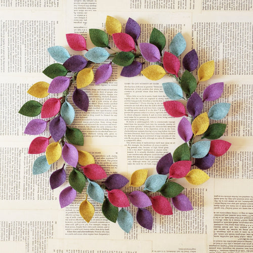 Spring or Summer Wool Felt Leaf Wreath in Pink, Purple, Green and Blue - Summer Wreath - 16