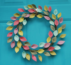 "Small Felt Leaf Wreath in Pink, Green, and Purple - Made to Order - Easter, Spring or Summer Wreath - 12"" Total Diameter"