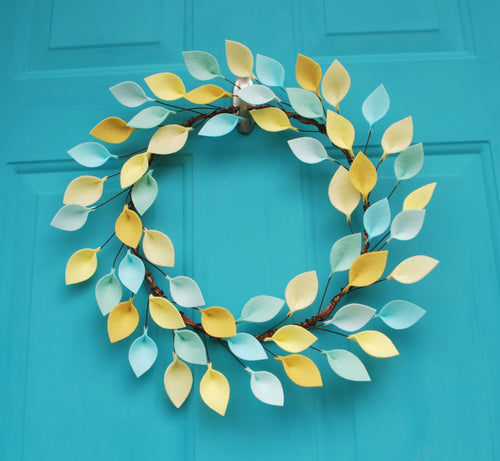 Yellow, Aqua, and Mint Spring or Summer Wreath with Felt Leaves - 18