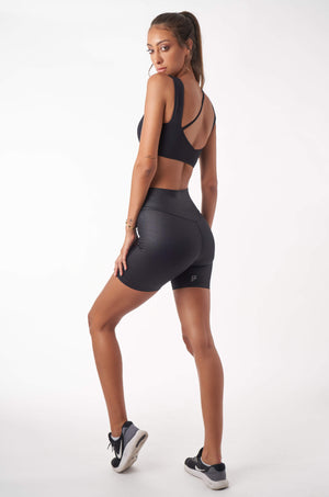 Diagonal Biker Shorts - Black Glaze