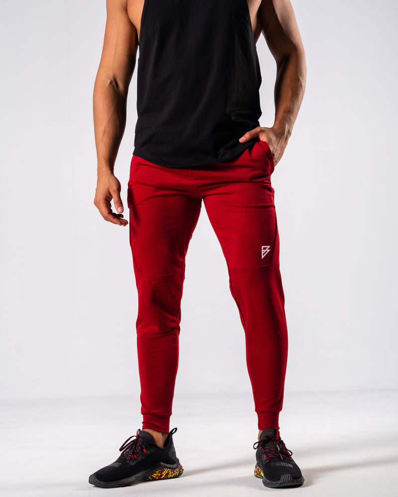 FÍO Tapered Joggers - Red - FIO Athletics