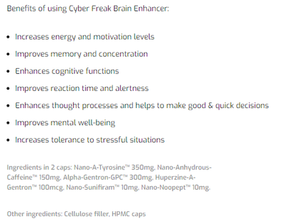 Nordic Labs Cyber Freak - Limitless Mind - Enhances Cognitive Function