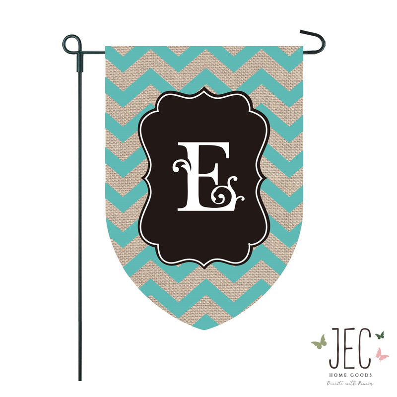 Chevron Monogram Burlap 2-Sided Garden Flag 12.5x18""