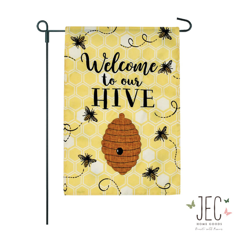 Bees Honeycomb 2-Sided Garden Flag 12.5x18""