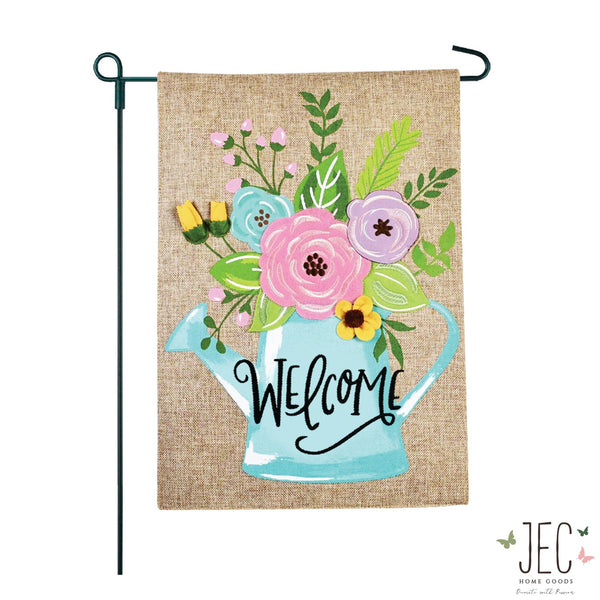 Watering Can Burlap 2-Sided Garden Flag 12.5x18""