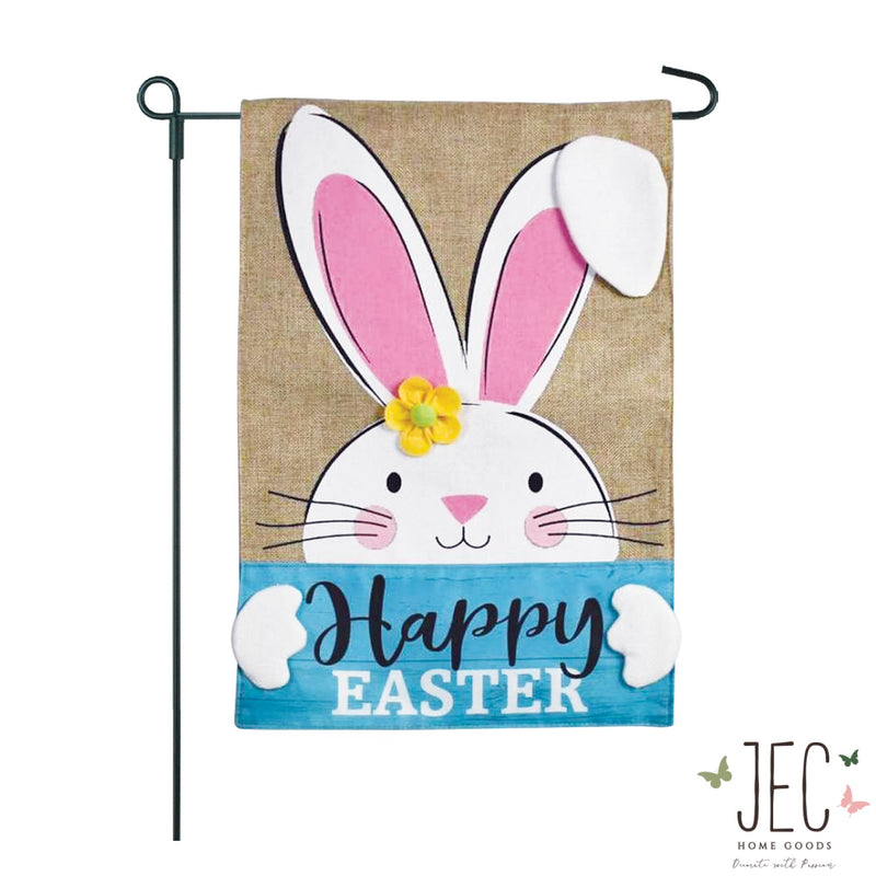 Bunny With Happy Easter Sign Burlap 2-Sided Garden Flag 12.5x18""
