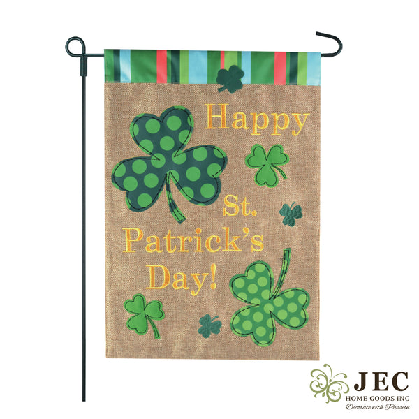 St. Patrick's Day Polka Dots Clover Burlap 2-Sided Garden Flag 12.5x18""