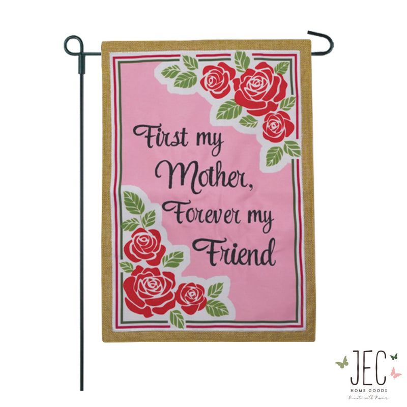 Rose Border For Mom Burlap 2-Sided Garden Flag 12.5x18""