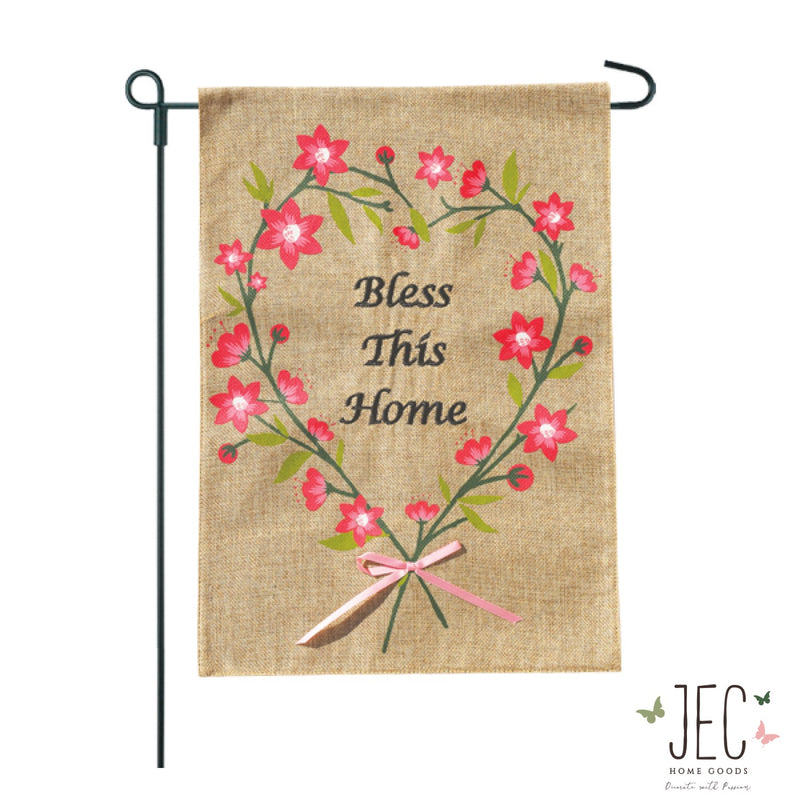 Heart Wreath Burlap 2-Sided Garden Flag 12.5x18""