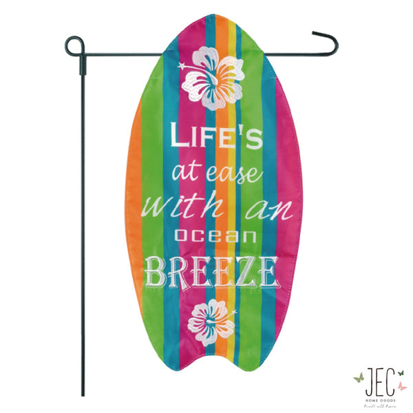 Life's At Ease Surfboard Garden Flag  23x11.5""