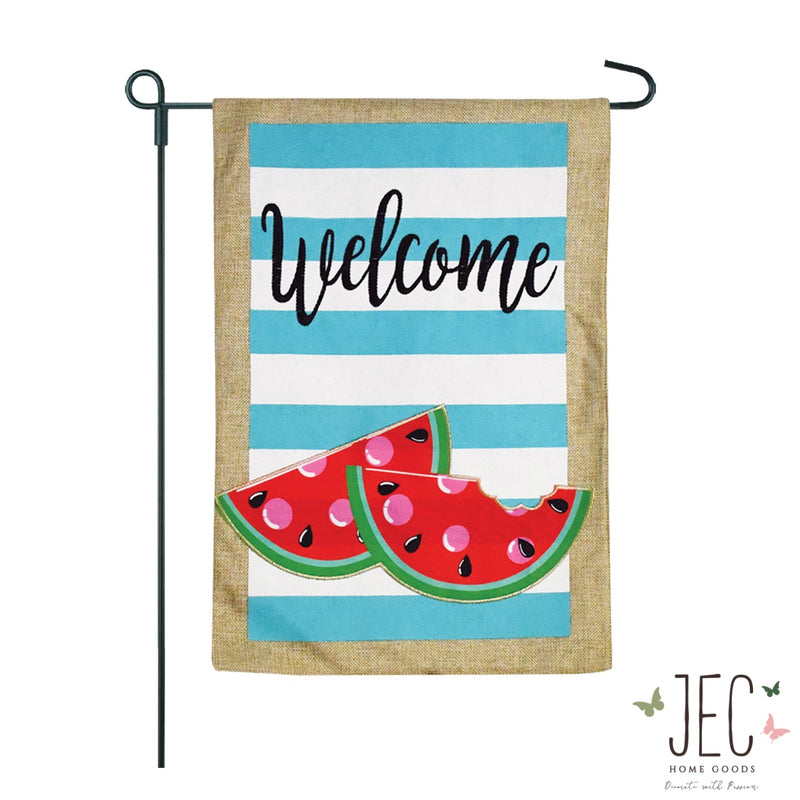 Watermelon Burlap 2-Sided Garden Flag 12.5x18""