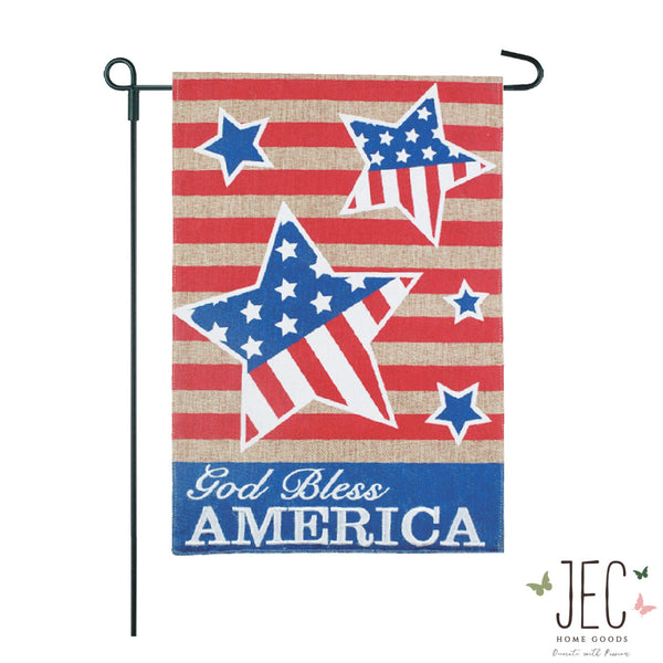 Americana Star GBA Burlap 2-Sided Garden Flag 12.5x18""
