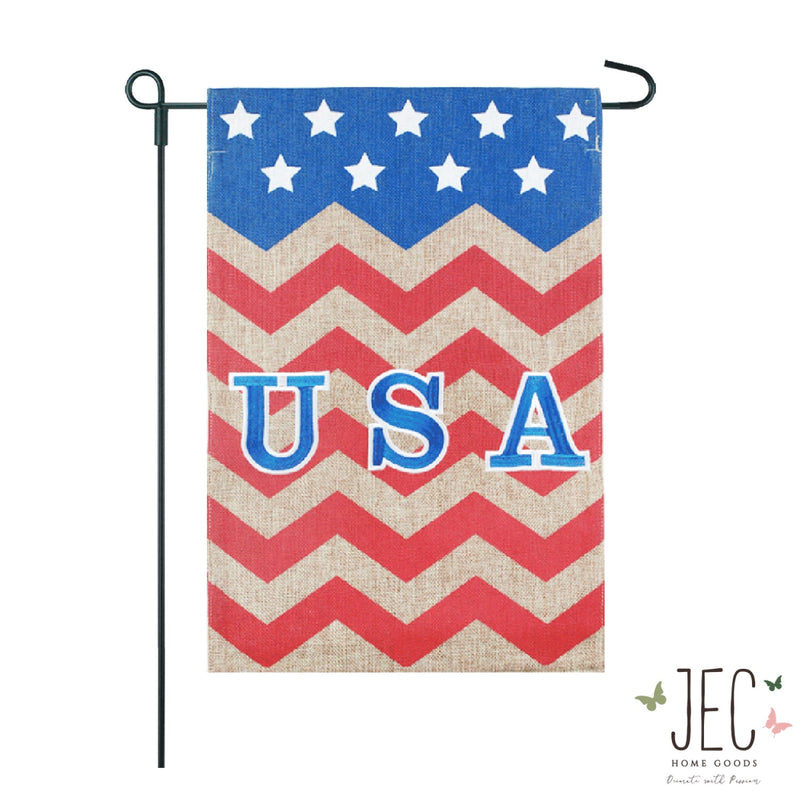 Americana Chevron USA Burlap 2-Sided Garden Flag 12.5x18""