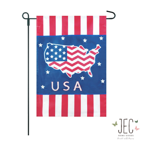 Americana Stripe USA 2-Sided Garden Flag 12.5x18""