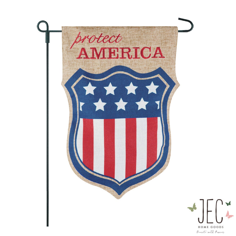 Americana Shield Protect Burlap 2-Sided Garden Flag 12.5x18""
