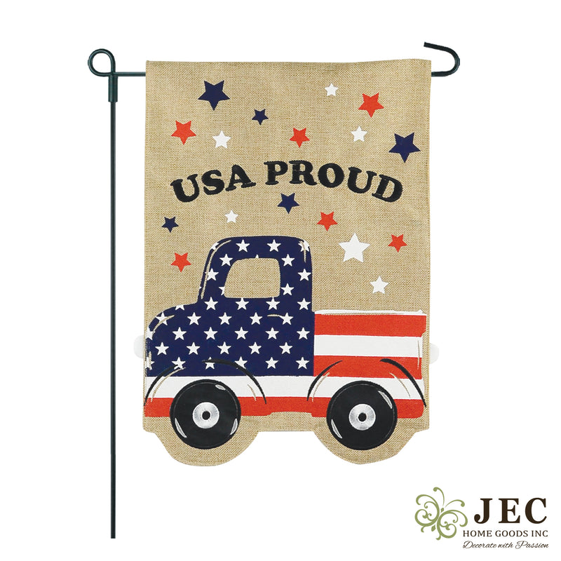 Americana Pick Up Truck Burlap 2-Sided Garden Flag 12.5x18""