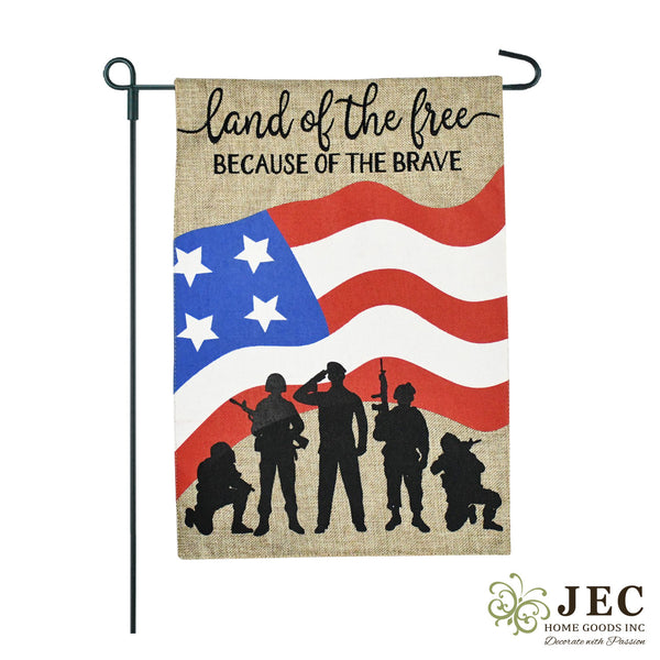 American Heroes Burlap 2-Sided Garden Flag 12.5x18""