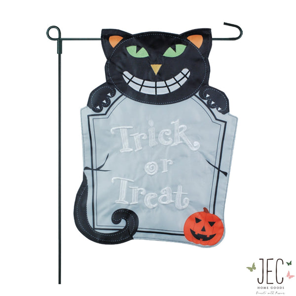 Halloween Cat Tombstone 2-Sided Garden Flag 12.5x18""