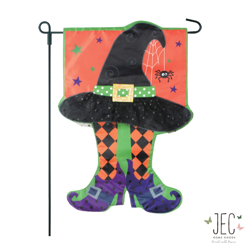 Halloween Witch Hat 2-Sided Garden Flag 12.5x18""