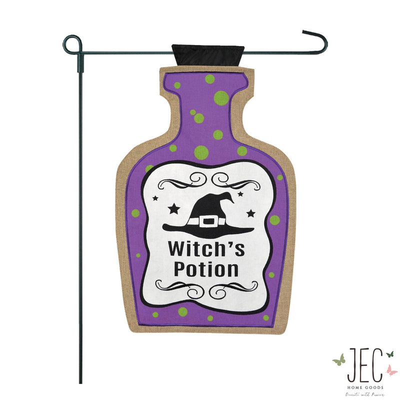 Witch's Potion Bottle Burlap 2-Sided Garden Flag 12.5x18""