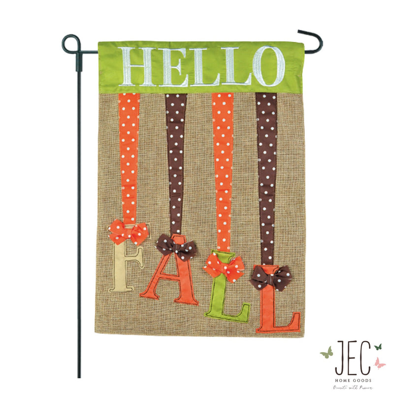 Hello Fall Ribbons Burlap 2-Sided Garden Flag 12.5x18""